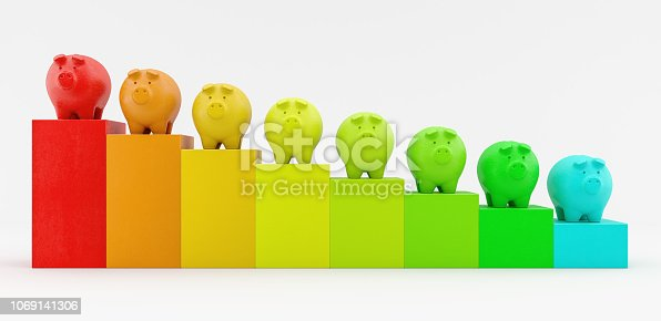 falling costs concept with colorful piggy bank 3d render 3d illustration