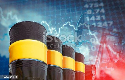 Declining chart of crude oil barrels