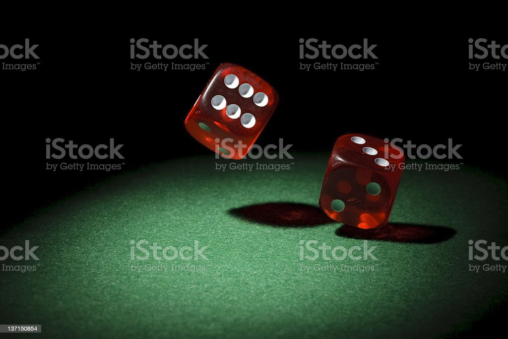 Falling dices stock photo