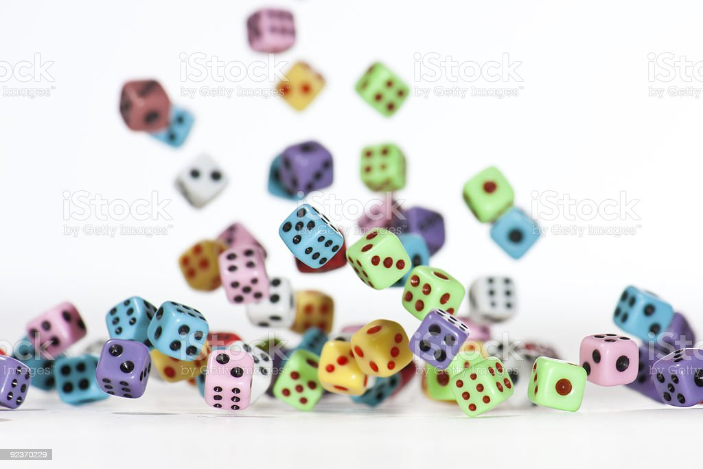 Falling Dices - Symmetrical, plenty in air royalty-free stock photo