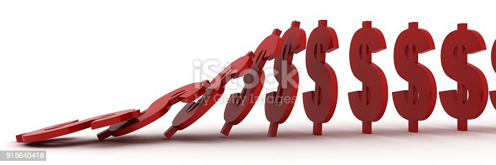 istock Falling domino effect finance crisis dollar concept 915640418