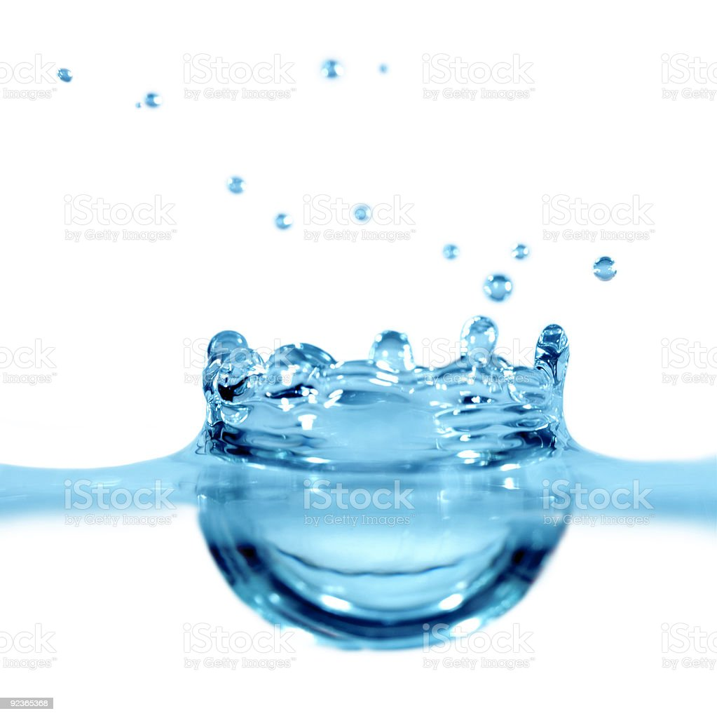 Falling drop of blue water royalty-free stock photo