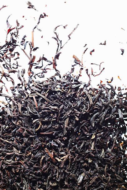 fallenden dry tee - grüner tee koffein stock-fotos und bilder