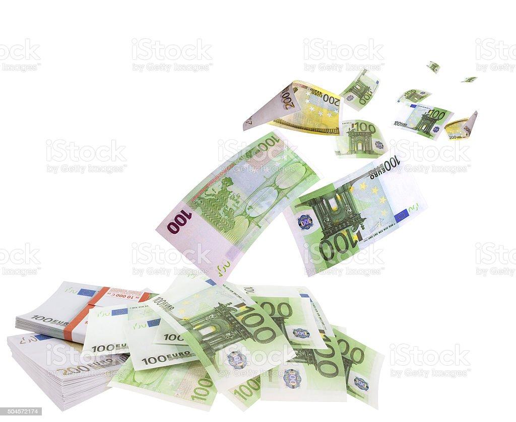 Caída de euros aislado sobre fondo blanco - foto de stock
