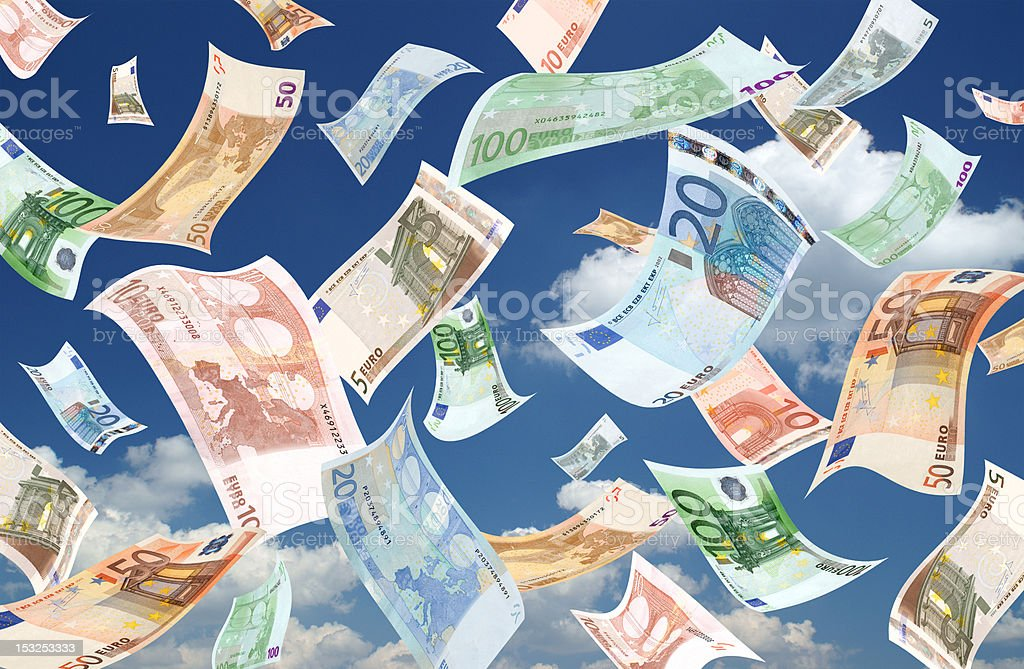 Falling euros (sky background) stock photo