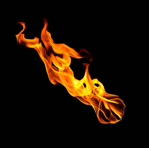 fallenden feuerball warmen flammen isoliert auf schwarz - feuerkugel stock-fotos und bilder