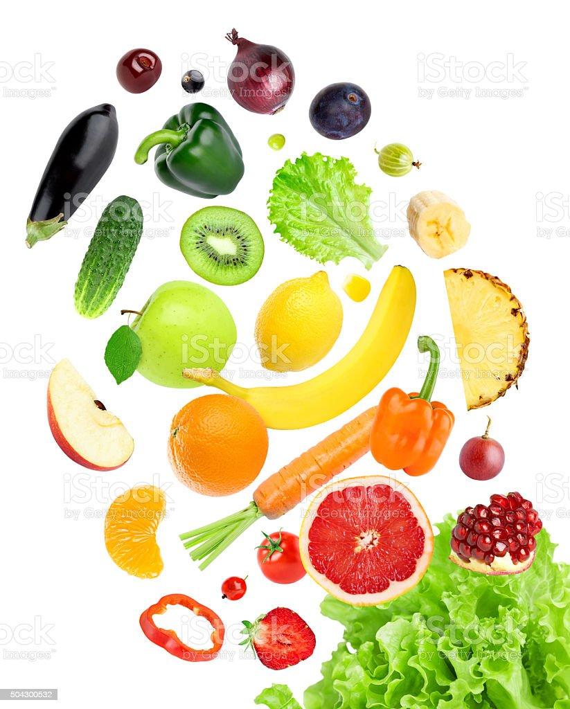 Falling frische Farbe aus Obst und Gemüse – Foto
