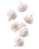Fresh basil leaf and Garlic on white background
