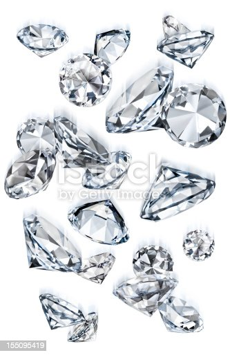 Faux diamonds falling over a white background with motion blur. Canon 5D MarkII and composed in Photoshop.