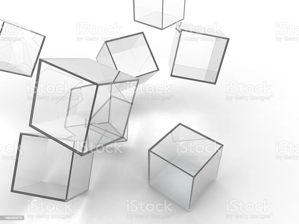falling glass cubes stock photo