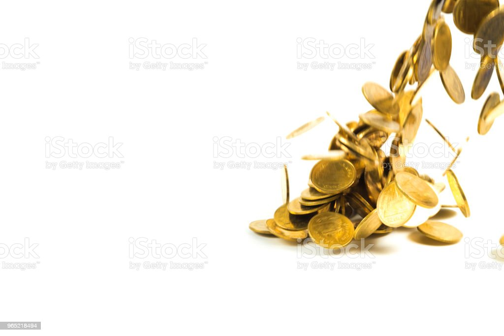Falling gold coins money isolated on the white background, business money and finance concept. royalty-free stock photo