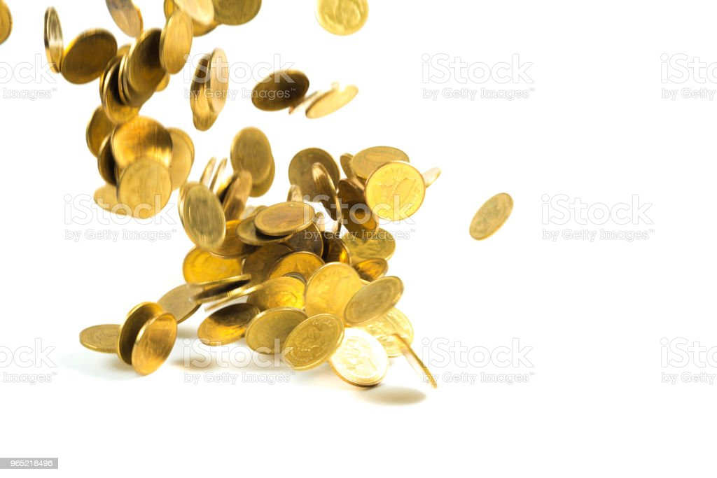 Falling gold coins money isolated on the white background, business money and finance concept. zbiór zdjęć royalty-free