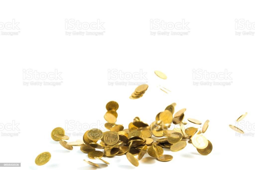 Falling gold coins money isolated on the white background, business money and finance concept. - Royalty-free Adult Stock Photo