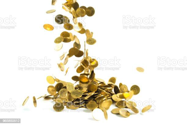 Falling Gold Coins Money Isolated On The White Background Business Money And Finance Concept Stock Photo - Download Image Now