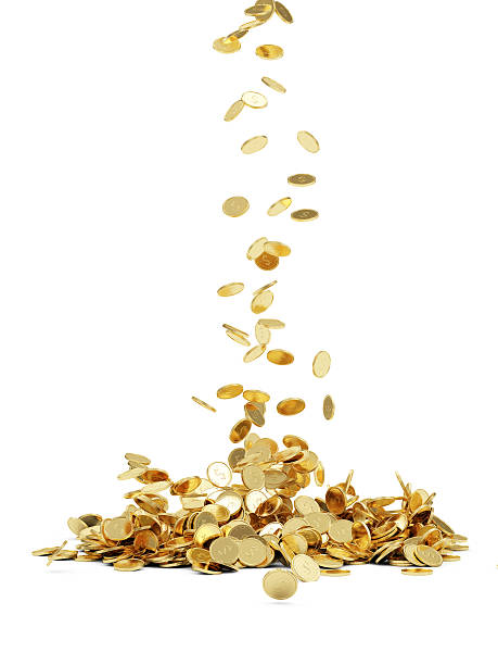 falling golden coins - coin stock photos and pictures