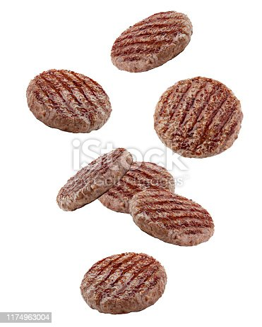 Falling grilled hamburger meat isolated on white background, clipping path, full depth of field