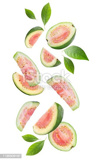 Falling guava fruits isolated on white background. Clipping path