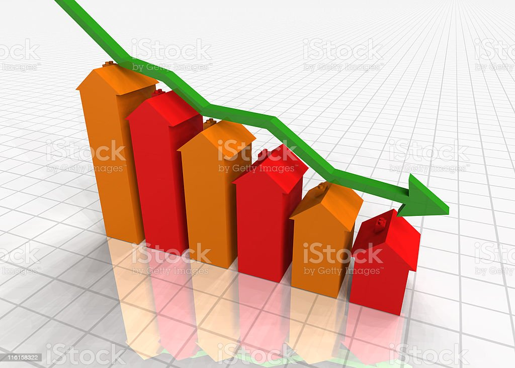 Falling House Prices royalty-free stock photo