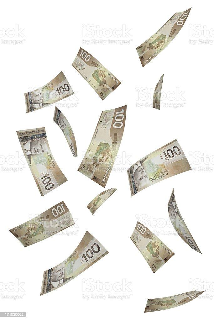 Falling Hundred Dollar Bills stock photo