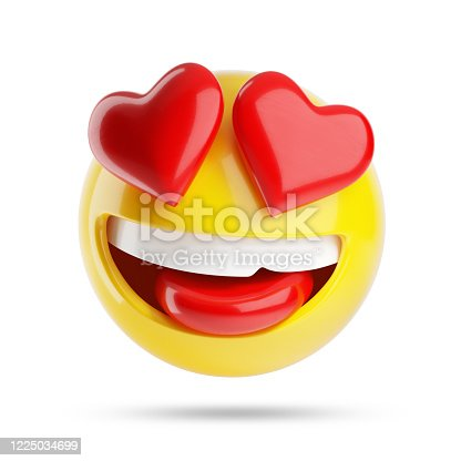Falling in love emoji isolated on white background. 3d illustration