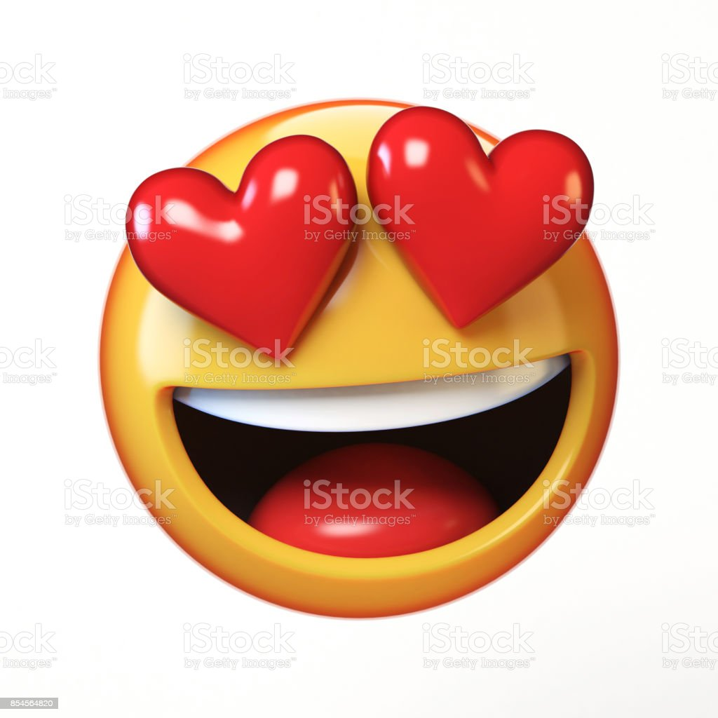 Falling in love emoji isolated on white background, heart shaped eyes emoticon tongue stock photo