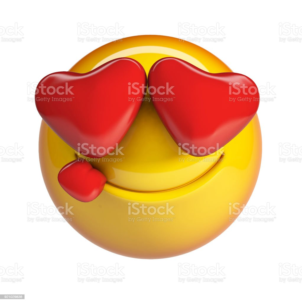 Falling in love emoticon with heart shaped eyes. stock photo