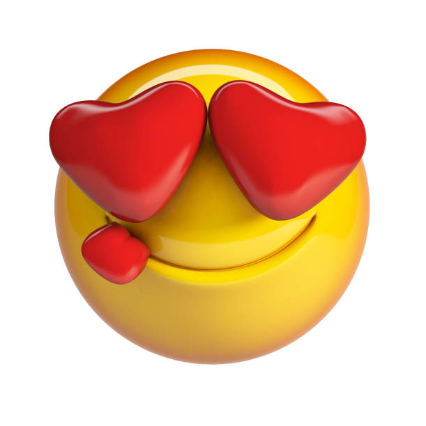 falling in love emoticon with heart shaped eyes. - emoticons stock photos and pictures