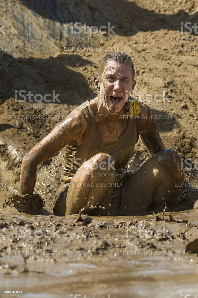Falling in the mud royalty-free stock photo