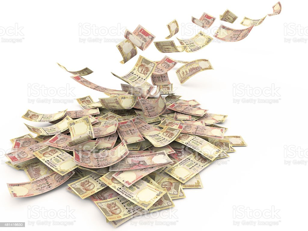 Falling Indian Rupee stock photo