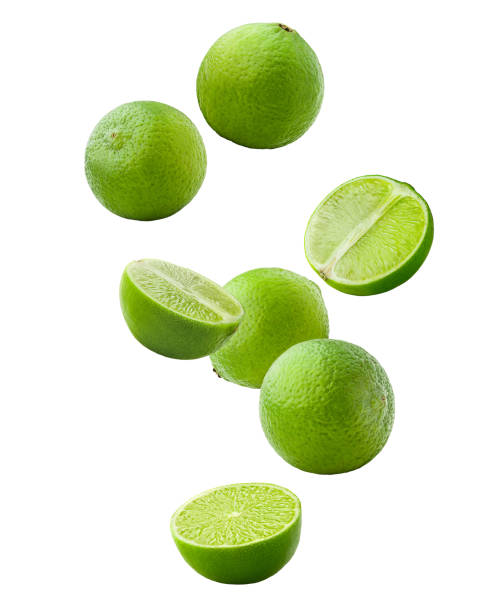 Falling lime isolated on white background, clipping path, full depth of field Falling lime isolated on white background, clipping path, full depth of field lime stock pictures, royalty-free photos & images