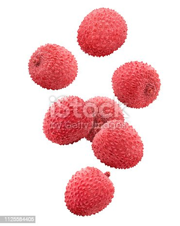 Falling lychee, clipping path, isolated on white background, full depth of field