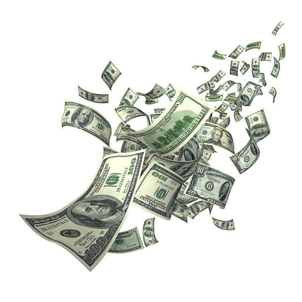 Falling Money Bills (XXXL) US Currencies, $100 in various shape and angles. mid air stock pictures, royalty-free photos & images