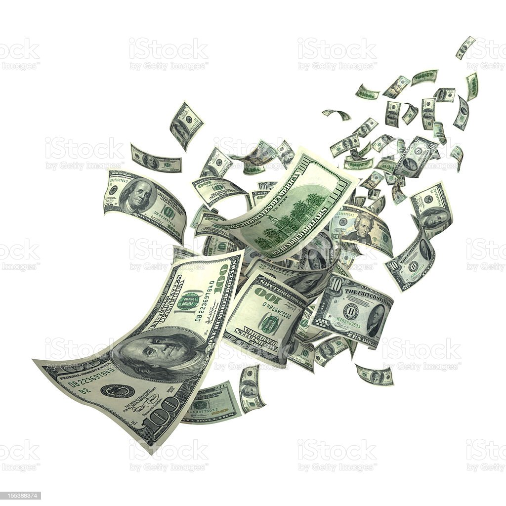 Falling Money Bills (XXXL) stock photo