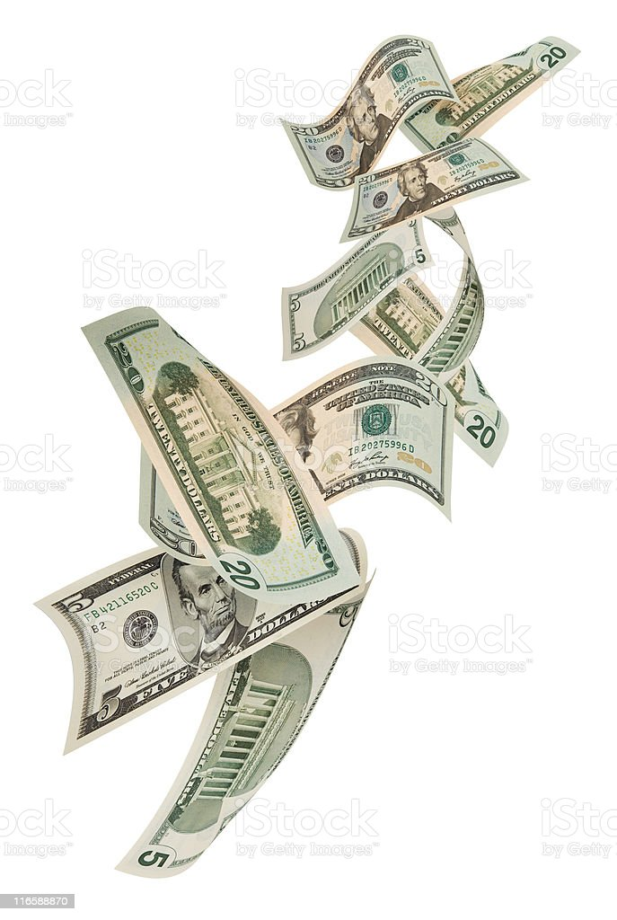 Falling Money Dollar stock photo