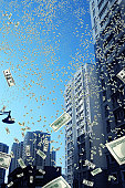 digitally generated image of money falling down from sky.