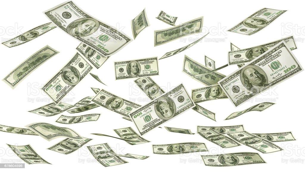 Fallende Geld auf einem weißen Hintergrund. Dollar-Regen. 3D illustration – Foto