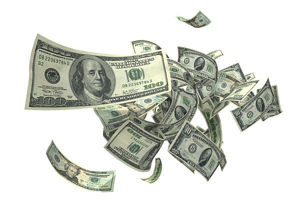 falling money (xxxl) - dollar sign stock photos and pictures