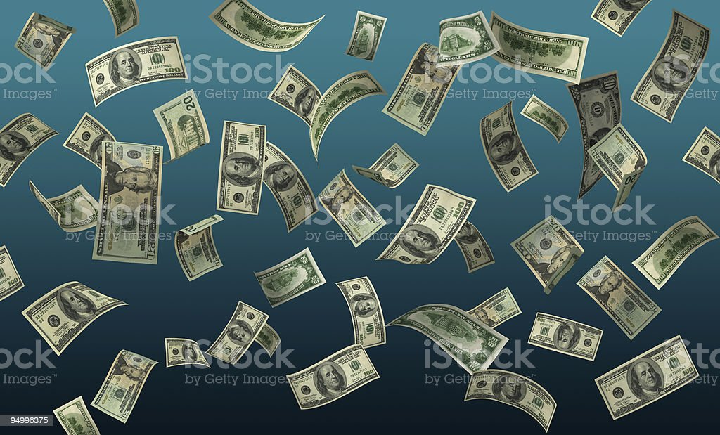 Falling Money (High Res Wide Format/XXL) stock photo