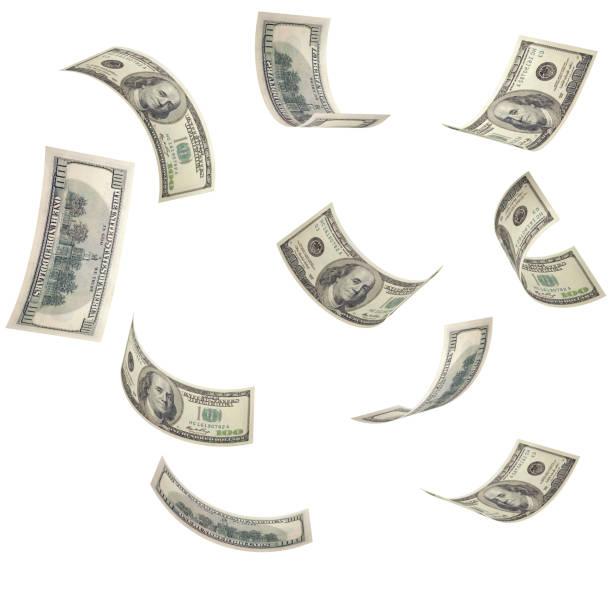 fallenden us-dollar isoliert geld - sterntaler stock-fotos und bilder