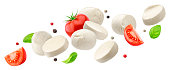 Falling mozzarella cheese isolated on white background with clipping path, caprese salad ingredients