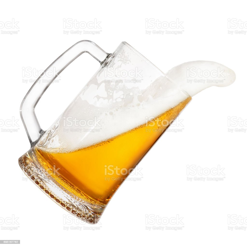 falling mug of beer stock photo