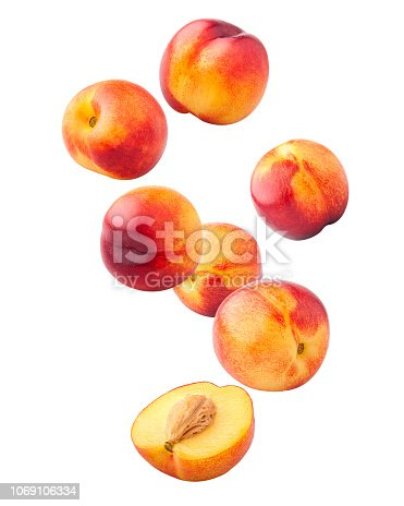 Falling Nectarine or peach isolated on white background, clipping path, full depth of field