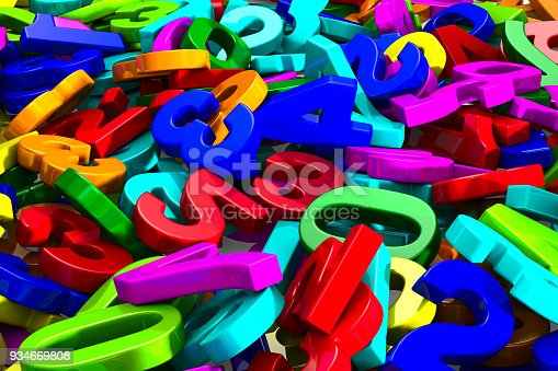 istock falling number on white background. Isolated 3D render 934669808