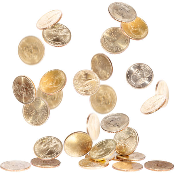 Falling One Dollar Coins stock photo