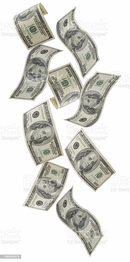 Falling one-hundred dollar bills stock photo