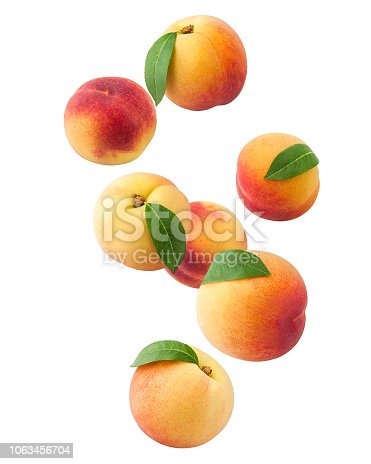Falling Peach isolated on white background, clipping path, full depth of field