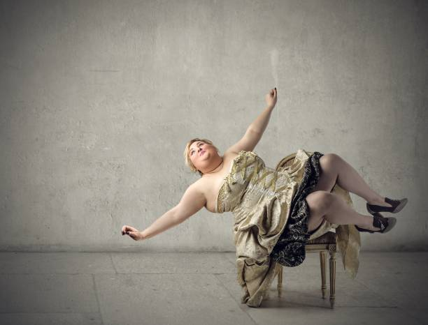 falling - funny fat lady stock photos and pictures