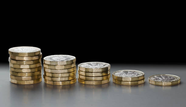 brexit falling pound histogram gbp falling in currency market - whiteway money stock photos and pictures