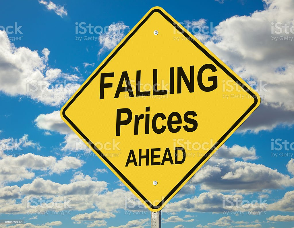 Falling Prices Ahead Road Sign stock photo