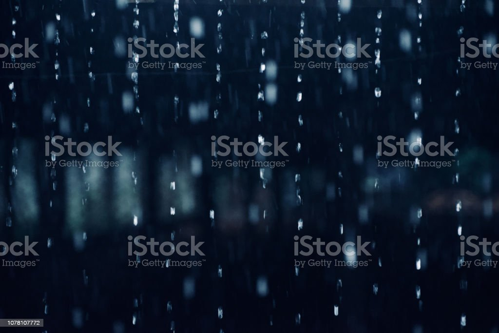Falling rain waters isolated unique photo stock photo
